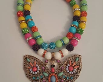 Candy color choker w/butterfly antique charm