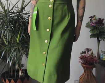 VTG 1960s NWT Alex Coleman Green Twill Secretary Skirt Mid-Length M