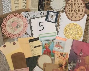 36 pc. paper, vintage type ephemera, travelers notebook supplies