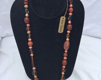 Natural Pearl, Wheatberry and Wood Necklace with hook and loop closure