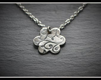 Engraved Flower Pendant - Silver Precious Metal Clay (PMC), Handmade, Necklace - (Product Code: ACM023-17)
