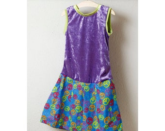Children dress made of velvet in purple