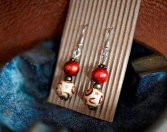 Earrings from wooden beads: bohemian wooden earrings