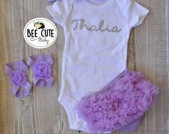 Personalized  Baby Newborn Girl Coming Home Outfit-Baby Girl Tutu Light Purple Bloomer-New Born Headband & Sandals.Perfect  for Baby Shower.