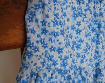 Little Girls Handmade Modest Skirt with Blue Flowers Size 6