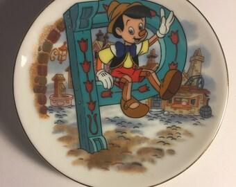 """Disney Letter P for Pinocchio Miniature Porcelain Plate—Vintage, Part of the """"Disney's Alphabet"""" Collection—1980s"""