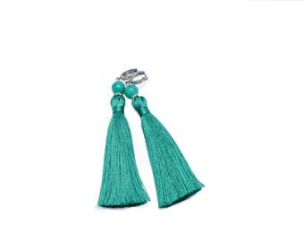 Turquoise Statement Tassel Drop Earrings with Nephrite Stone, Bohemian Style,