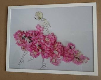 Endless summer, acrylic glass, wall painting, flowers, hydrangeas