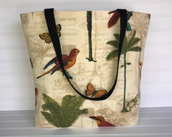 Handmade Everyday Tote | Market Bag | Tropical Parrot Tote