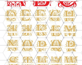 Regal Split Monogram Letters, Split Alphabet svg files, Floral alphabet svg, split initials svg