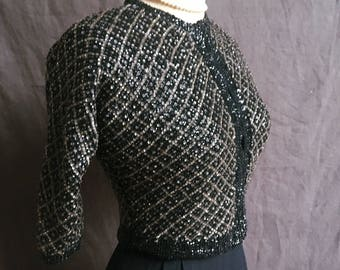 Early 1960s bejewelled fitted cardigan