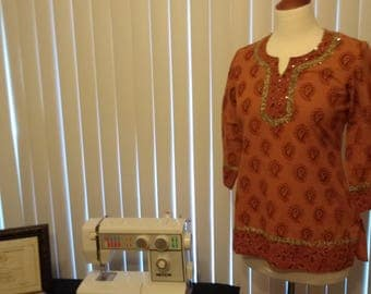 Elegant Vintage Kurta/Short Long Sleeve Tunic