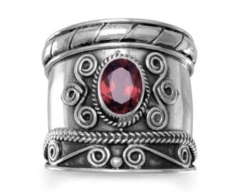 Handmade in Bali Oxidised Ring with Garnet