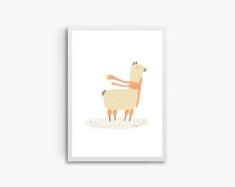 Baby Lama Print, Nursery Wall Poster, Wall Art Print, Kids Print, Nursery Art, Toddler Print, Baby Animal Print, Children Art, Cute Lama