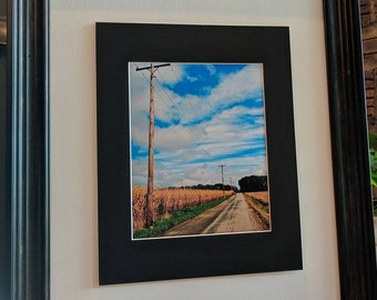 Rural Road and Cornfield Photograph, Nature Photography, 8x10 (does not include frame)