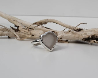 White heart shaped sea glass and silver ring