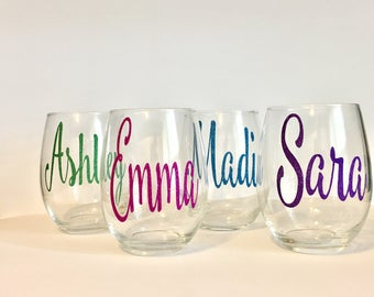 Set of 5 or 6 Bridal Party Wine Glasses | Personalized Bridesmaid Wine Glasses | Custom Wine Glass | Wedding Gifts | Bridesmaid Gifts