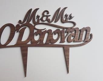 Mr & Mrs Cake Topper, Wood or Acrylic Cake Topper, Wedding Cake Topper, Personalised Wedding Cake Topper, Surname Topper, Wedding Gift