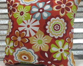 Pinwheel Floral Tangerine 18x18 Outdoor Pillow