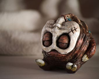 BONE MONSTER SCULPTURE, collectible figurine, cute, fantasy, small, one of a kind