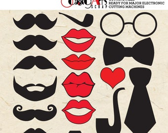 Lips, Mustaches, Eye-Glasses, Pipes Digital Cut Files Svg Dfx Eps Png - Silhouette SCAL Cricut Vector Download DIY Vinyl Die Cutting JB-039