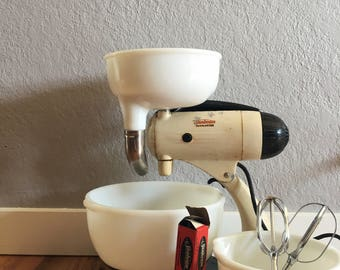 1950's 9 piece Sunbeam Mixmaster With Juicer and Lubricant