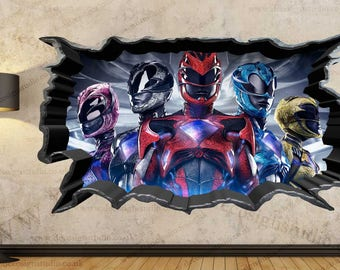 Exceptional Power Rangers 3D Cracked Wall Effect Wall Sticker Art Decal Mural 134A Part 29