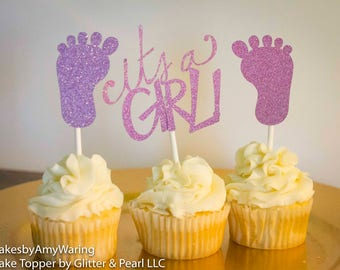 Baby girl cupcake toppers, its a girl, girl baby shower, cupcake decor