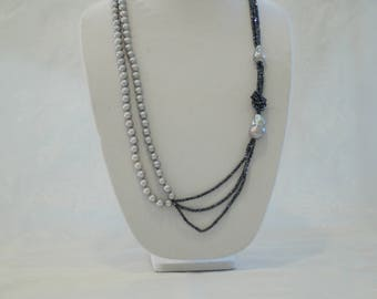 Chic Pearl Necklace with Mystic Spinel Beads