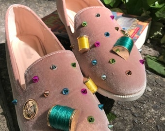 Whimsical Retro Inspired Blush Pink Embellished Loafers, Slip On Flats, Seamstress, Gift Idea, Faux Suede