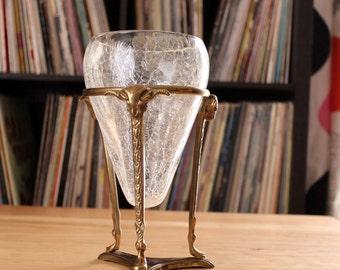vintage brass ram's head candle holder stand . tripod candleholder floating glass vase, hollywood regency decor, crackle glass rooting vase