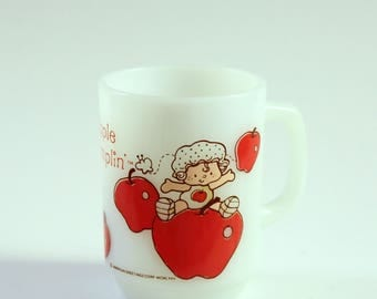 vintage Apple Dumplin' mug, Strawberry Shortcake coffee cup, milk glass by Anchor Hocking
