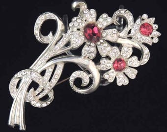 1940s Retro Vintage Floral Brooch, Red Floral Rhinestone Brooch, Floral Spray Brooch, Floral Rhinestone Jewelry, Retro Rhinestone Pin