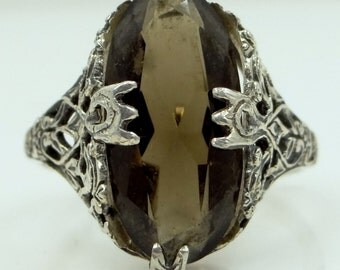 Vintage Sterling Silver Smokey Quartz Filigree Ring