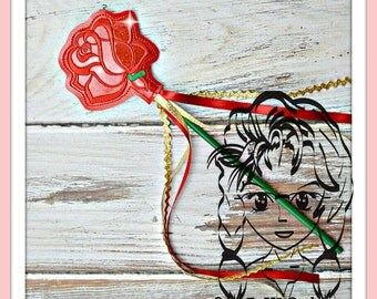 ROSE FLoWER ~ Pencil Topper & WaND ~ In the Hoop ~ Downloadable DiGiTaL Machine Embroidery Design by Carrie