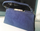 50s Blue SUEDE Bag / Vintage 1950's Early 1960's Suede Leather Purse / Matching Gloves and Purple Scarf