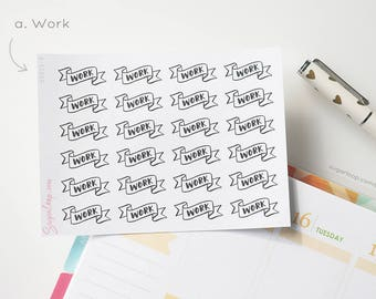 24 work, personal, MDN, header stickers, banner, black and white, task, chore, planner stickers, bullet journal, diary, HDR19