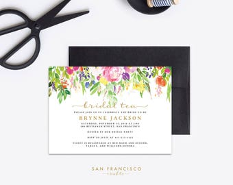 Bridal Tea Invitation, Bridal Shower Invitation, Printable Invite, Editable PDF Template, Garden - INSTANT Download - Candace Collection