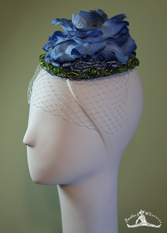Women's Fascinator - Hand-Beaded Blue Flower - Bridal - Bridesmaid - Blue Green Beaded Flower Bridal Fascinator