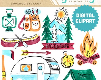 CAMPING Digital Clipart Instant Download Illustration Watercolor Clip Art Collage Printable Nature Wilderness Glamping Mountains Camper Tent
