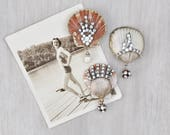 3 Rhinestone Shell Fridge Magnets -  whitewashed seashells with bead dangles - beach cottage decor