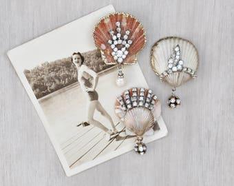 3 Rhinestone Shell Fridge Magnets -  whitewashed seashells with bead dangles - beach cottage decor