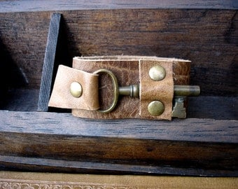 Tan Distressed Leather Cuff with Antique Brass Skeleton Key - Soft Leather Steampunk Cuff