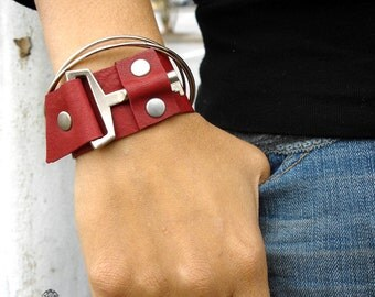 Red Leather Cuff with Mod Vintage Key - Red Steampunk Cuff Bracelet - EXTRA SMALL to SMALL