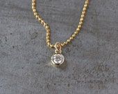 Diamond Solitaire Necklace, Real Diamond Pendant, 14k Yellow Gold Diamond Cut Bead Chain, Modern Style, Layering Jewelry, Sparkly Chain