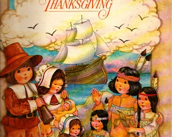 The First American Thanksgiving Coloring Book - 1980 - Vintage Kids Book