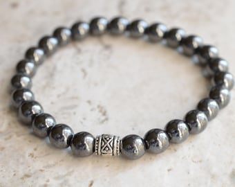 Manuel - Hematite Silver Men's Stretch Bracelet