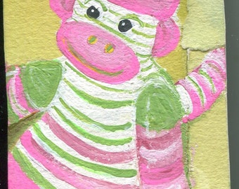 ACEO Original Sock Monkey, pink and green sock monkey art card, collage elements