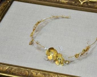 Bridal Headpiece, Hair Vine, Hair Wreath, Hair Wrap, Gold Flower Charms, Crystals, Pearls, White