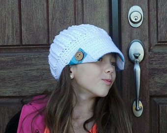 Newsboy hat white turquoise plaid fabric brim & buttons Gifts for teen girls button brim hat womens crochet hat with brim girls baseball hat